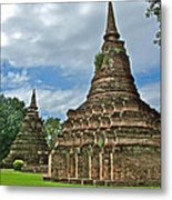 Stupas Of Wat Mahathat In 13th Century Sukhothai Historical Park-thailand Metal Print
