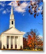 Sturbridge Church In Autumn Metal Print