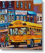 St.viateur Bagel And School Bus Montreal Urban City Scene Metal Print