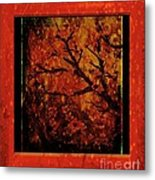 Stylized Cherry Tree With Old Textures And Border Metal Print