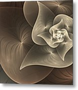 Stylized Philodendron Sepia Metal Print