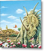 Styracosaurus eating Magnolias with Lambeosaurus Metal Print