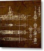 Submarine Blueprint Vintage On Distressed Worn Parchment Metal Print