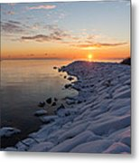 Subtle Pinks And Golds And Violets In A Bright Sunrise Metal Print