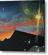 Suburban Sunset Oil On Canvas Metal Print