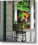 Suburbs - Porch With Rocking Chair And Geraniums Metal Print by Susan Savad