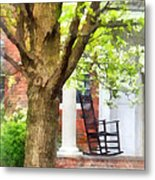 Suburbs - Rocking Chair On Porch Metal Print