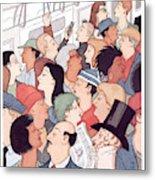Subway Riders All Resemble Eustace Tilley Metal Print
