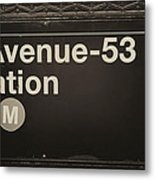 Subway Station Sign Metal Print