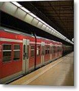 Subway Train At Platform Metal Print
