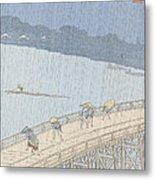 Sudden Shower On Ohashi Bridge At Ataka Metal Print by Ando Hiroshige