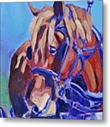 Suffolk Punch Draft Horse Plow Match Metal Print
