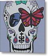 Sugar Candy Skull Blue Metal Print