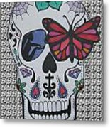 Sugar Candy Skull Pattern Metal Print