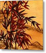 Sumi-e Red Bamboo Metal Print by Diane Ferron