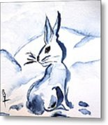 Sumi-e Snow Bunny Metal Print