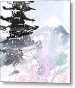 sumie No.10 Pagoda and Mt.Fuji Metal Print by Sumiyo Toribe