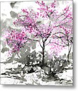 Sumie No.2 Plum Blossoms Metal Print
