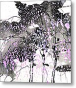 Sumie No.6 Weeping Willow Cheery Blossoms Metal Print