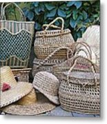 Summer Baskets And Hats Metal Print
