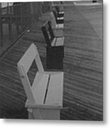 Summer Benches Seaside Heights Nj Bw Metal Print by Joann Renner