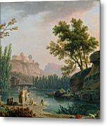 Summer Evening Landscape In Italy Metal Print