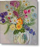 Summer Flowers In Vase Metal Print by Terri Maddin-Miller
