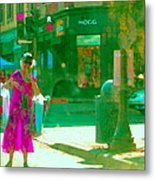Summer Heatwave Too Hot To Walk Lady Hailing Taxi Cab At Hogg Hardware Rue Sherbrooke Carole Spandau Metal Print