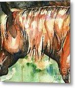 Horse Painting In Watercolor Summer Horse Metal Print