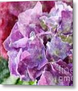Summer Hydrangeas With Painted Effect Metal Print