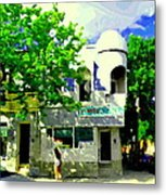 Summer In Psc Pizza At Connie's Pizzaria And Hamburgers City Scene Sud Ouest Montreal Carole Spandau Metal Print