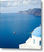 Summer In Santorini - Greece Metal Print