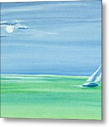 Summer Moonlight Sail Metal Print