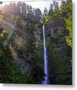 Summer Morning Rays At Multnomah Falls Oregon  Metal Print