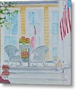 print Summer Porch and Flag for sale Metal Print