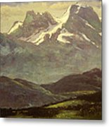 Summer Snow On The Peaks Or Snow Capped Mountains Metal Print