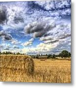 Summer Straw Bales Metal Print