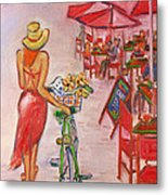 Summer Stroll By A Cafe Metal Print