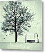 Summer Swing Abandoned In Snow Beside Tree Metal Print