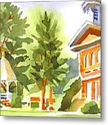 Summers Morning On The Courthouse Square Metal Print