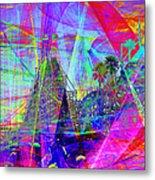 Summertime At Santa Cruz Beach Boardwalk 5d23930 Square Metal Print