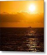 Sun And Ship Metal Print