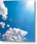 Sun Burst On A Blue Sky And Clouds Metal Print