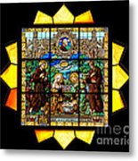Sun Burst Stained Glass Metal Print