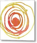Sun Circle Abstract Water Color Paint Metal Print
