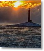 Sun Climbing Over Thacher Island Lighthouse Metal Print