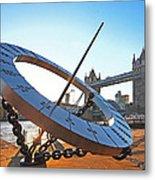 Sun Dial And Tower Bridge London Metal Print