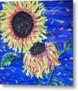 Sun Flowers And Wind Metal Print
