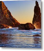 Sun Kissed Sea Stacks Metal Print