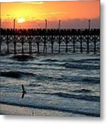 Sun Over Pier And Bird In Surf Metal Print